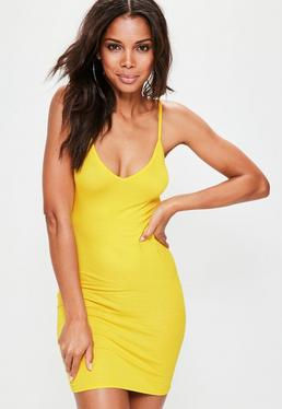 Yellow Cami V Neck Bodycon Mini Dress