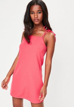Red Tie Strap Cami Shift Dress