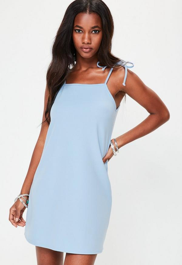 Blue Tie Strap Cami Shift Dress