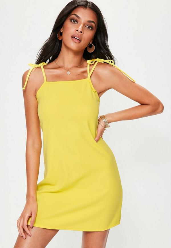 Yellow Tie Strap Cami Shift Dress