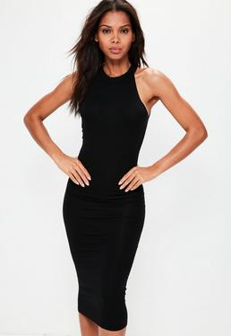 Black Racer Neck Bodycon Midi Dress