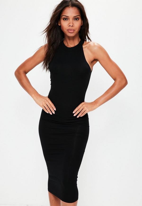 Black Racer Neck Bodycon Midi Dress