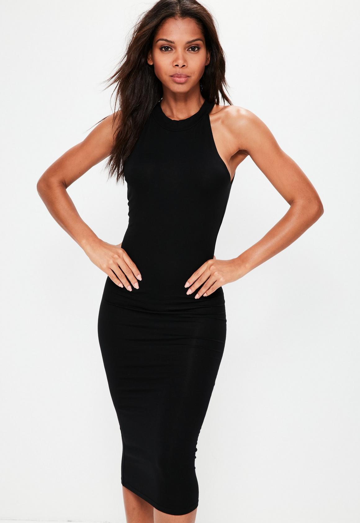 Express midi black dress bodycon