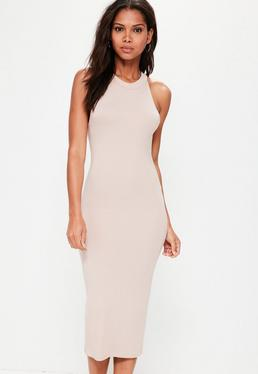 Pink Racer Neck Bodycon Midi Dress