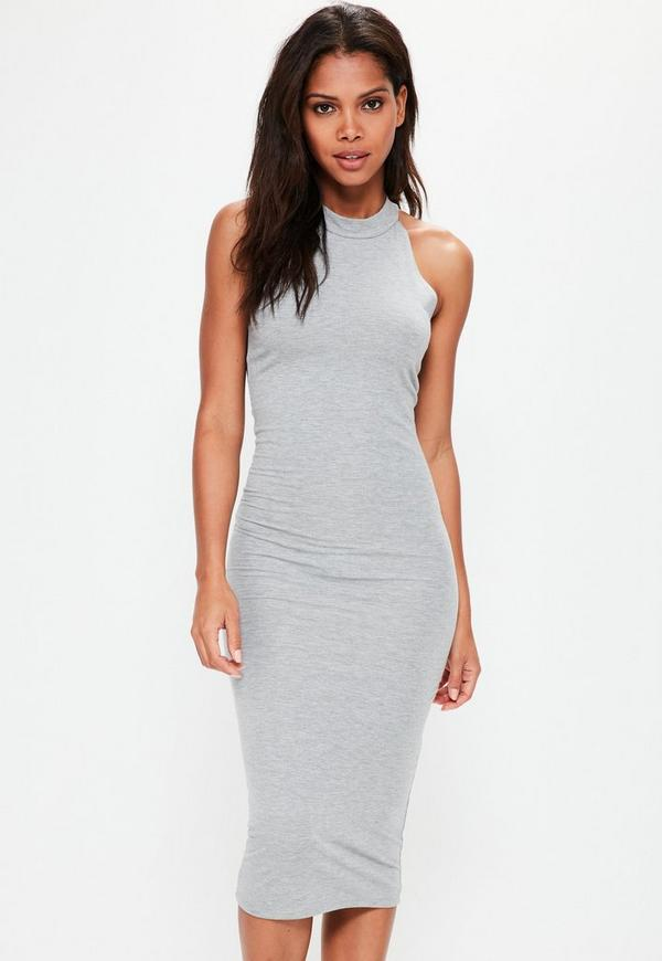 Grey Racer Neck Bodycon Midi Dress