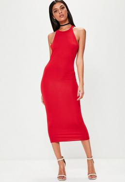 Red Racer Neck Bodycon Midi Dress