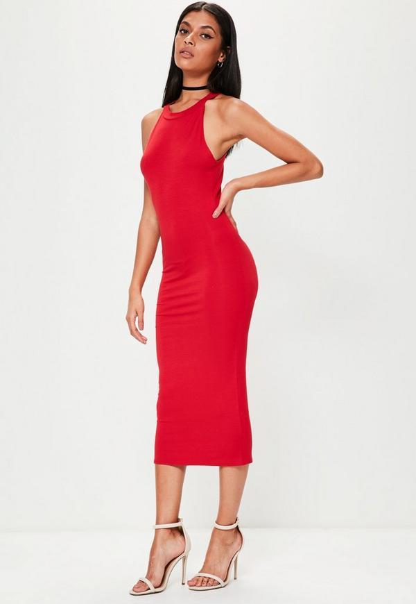 robe mi longue moulante rouge col nageur missguided. Black Bedroom Furniture Sets. Home Design Ideas
