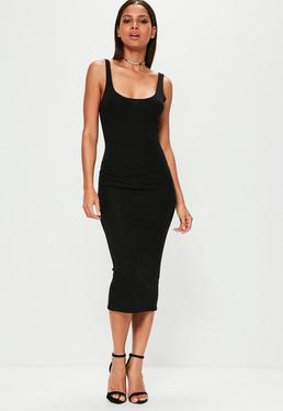 Black Scoop Neck Bodycon Midi Dress