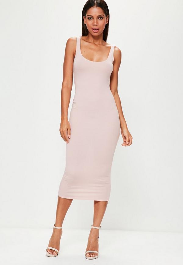 Nude Scoop Neck Bodycon Midi Dress