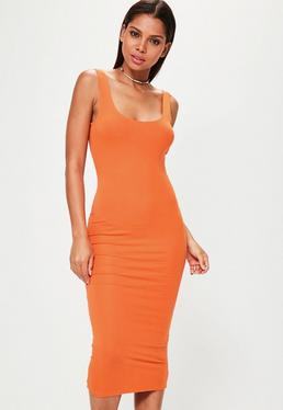Orange Scoop Neck Bodycon Midi Dress