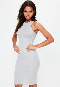 Grey Ribbed Cross Back Bodycon Midi Dress