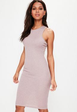Pink Ribbed Cross Back Bodycon Midi Dress