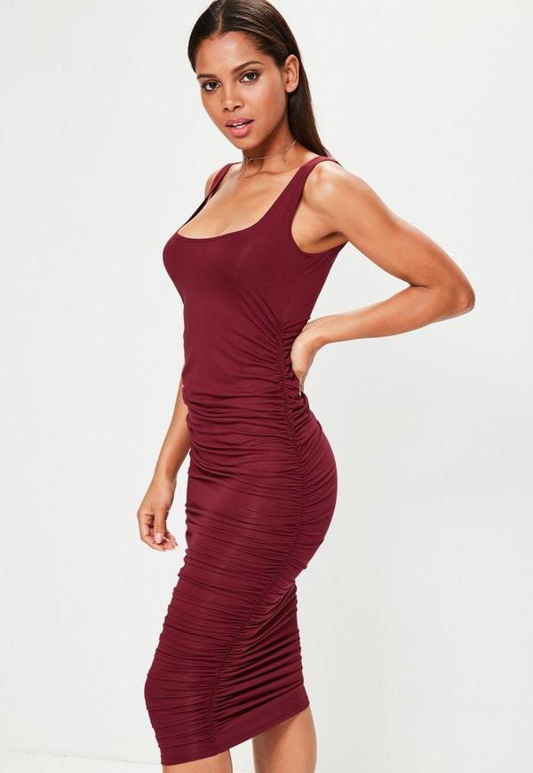 Red Ruched Sleeveless Bodycon Midi Dress