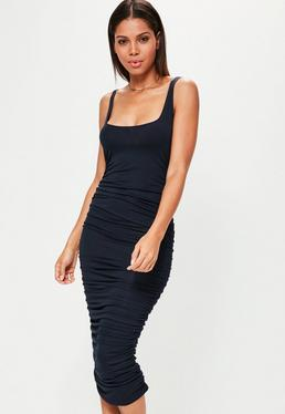 Navy Ruched Sleeveless Bodycon Midi Dress