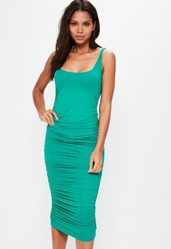 Green Ruched Sleeveless Bodycon Midi Dress