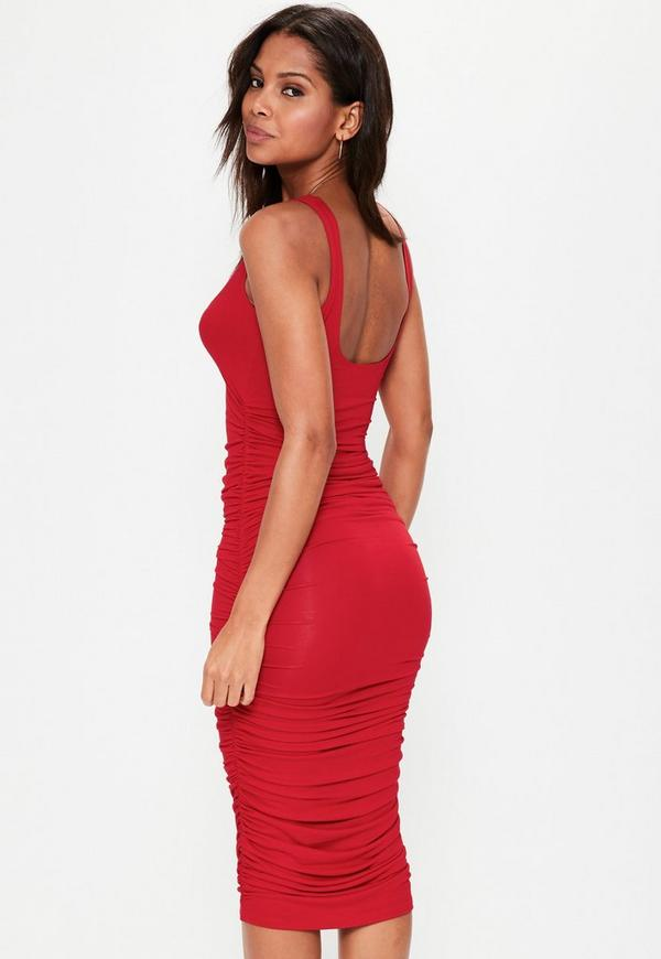 Red Ruched Dresses – fashion dresses b2c598be3