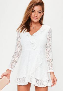 White Lace Ruffle Tea Dress