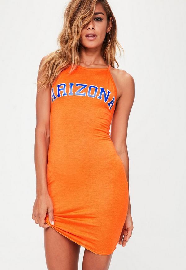 Orange Arizona Slogan Strappy Bodycon Dress