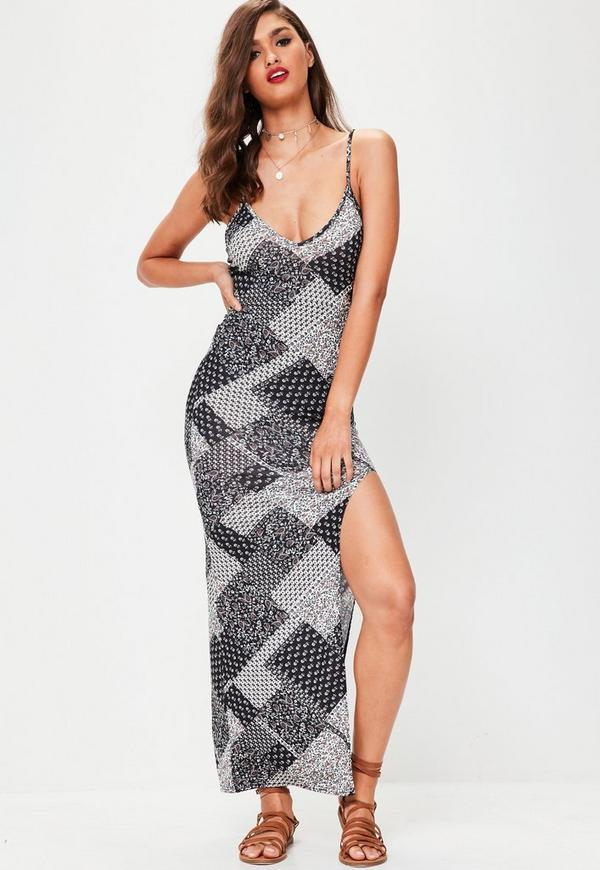 Black Patchwork Maxi Dress