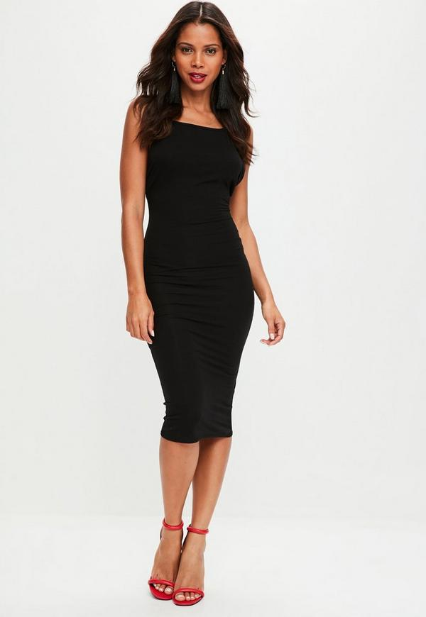 Robe mi longue noire style 90 39 s dos chancr missguided - Robe dos echancre ...