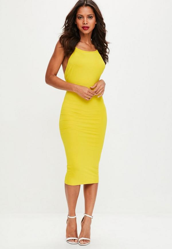 Yellow Low Back 90s Neck Bodycon Midi Dress Missguided