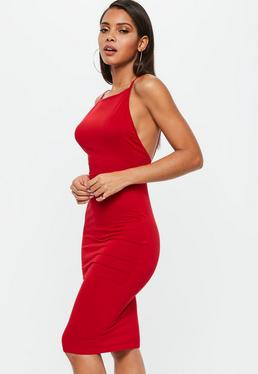 Red Low Back 90s Neck Bodycon Midi Dress