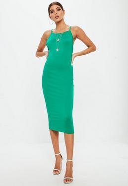 Green Low Back 90s Neck Bodycon Midi Dress