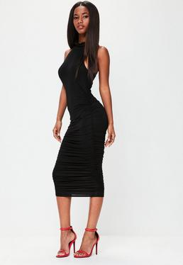 Black High Neck Sleeveless Ruched Midi Dress