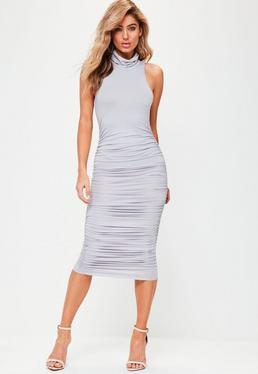 Grey High Neck Sleeveless Midi Dress