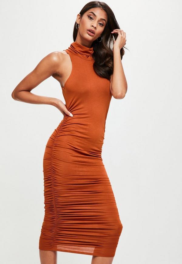 Brown High Neck Sleeveless Ruched Midi Dress