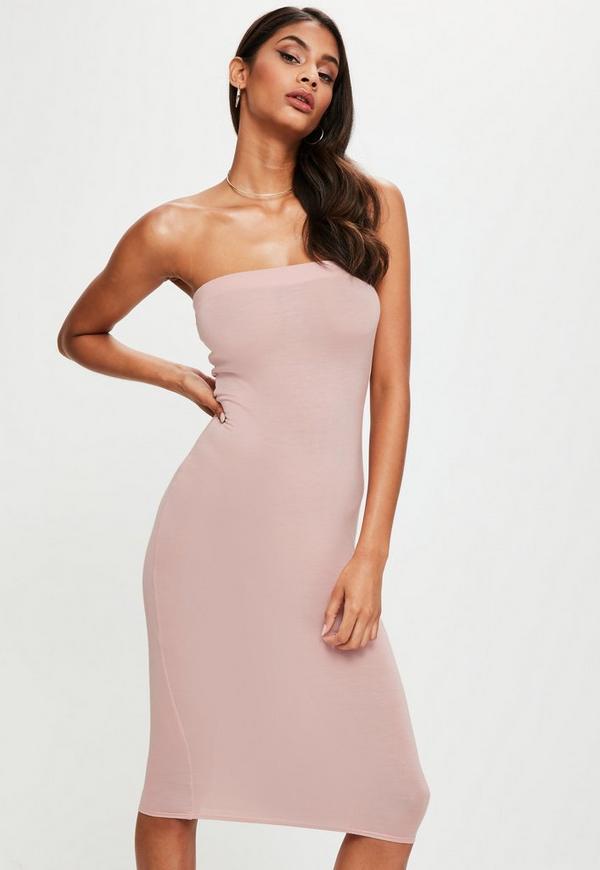 Pink Bandeau Bodycon Midi Dress