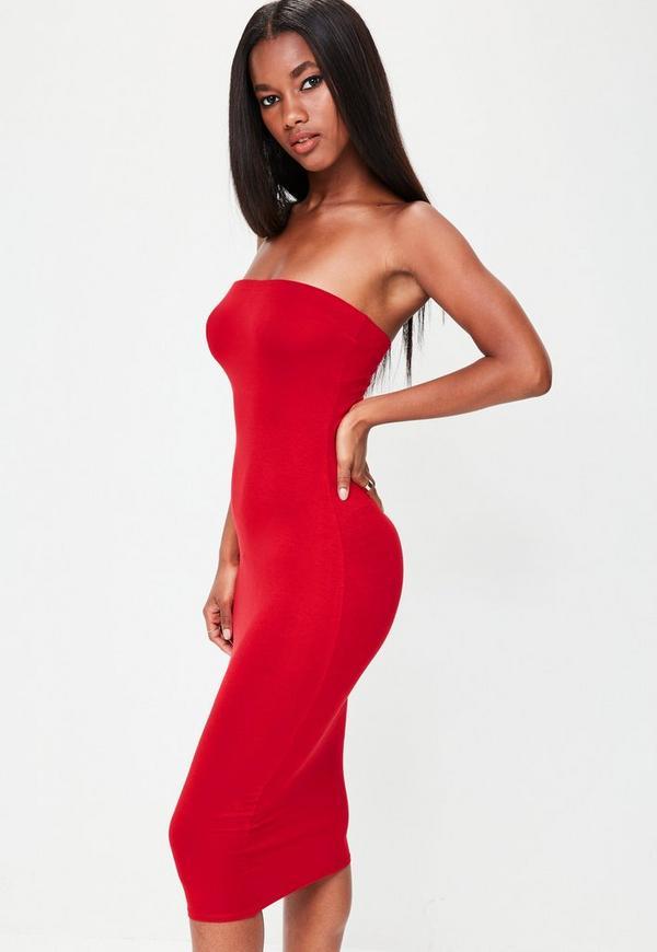 Red Bandeau Bodycon Midi Dress