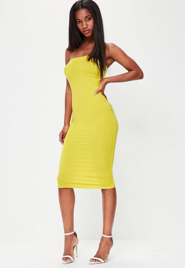 Yellow Bandeau Bodycon Midi Dress