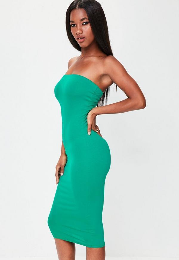 Green Bandeau Bodycon Midi Dress