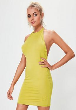 Green Halterneck Bodycon Mini Dress