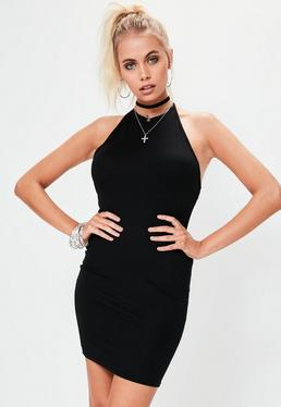 Black Halterneck Bodycon Mini Dress