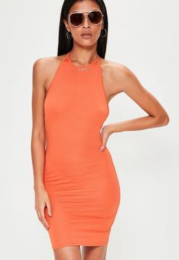 Orange Halterneck Bodycon Mini Dress