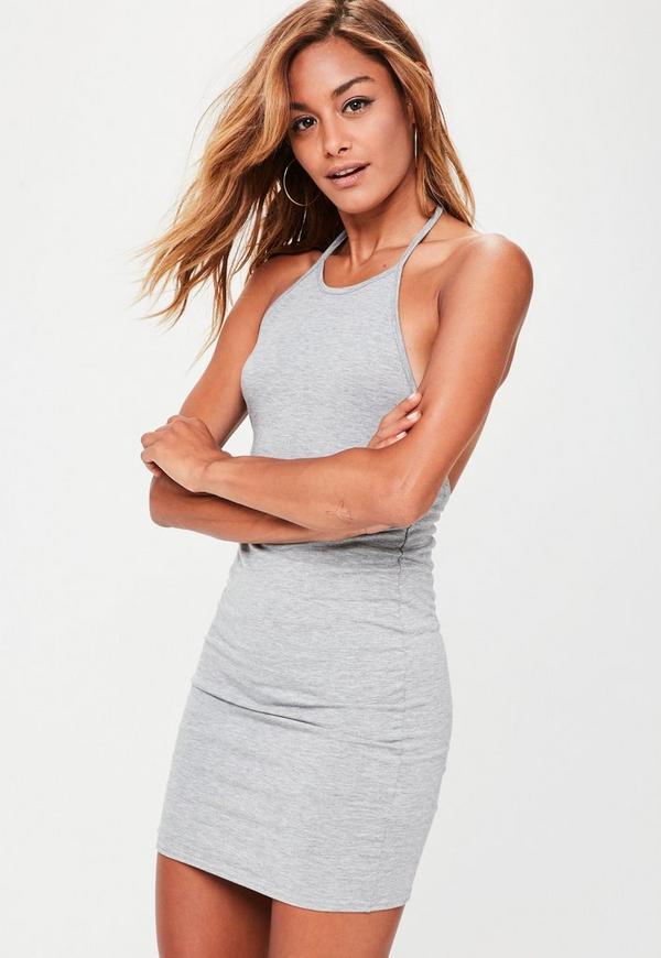 Grey Halterneck Mini Dress