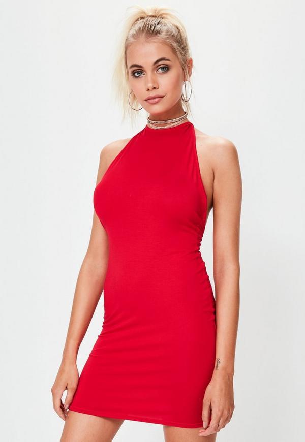Red Halterneck Bodycon Mini Dress