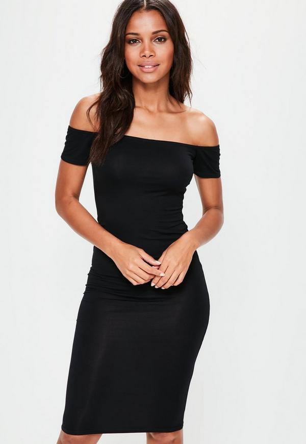 Black Bardot Midi Dress