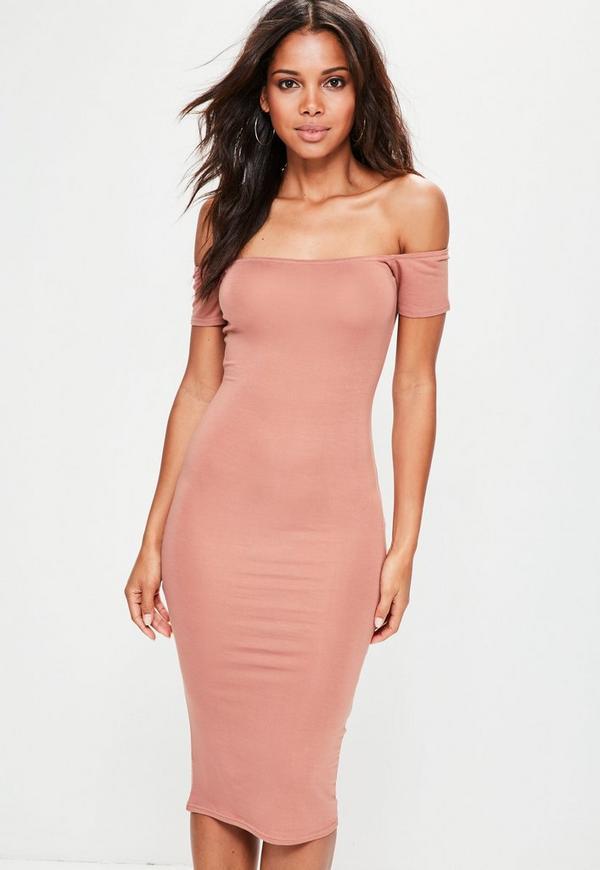 Nude Bardot Midi Dress
