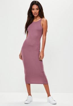 Purple Racer Neck Midi Dress