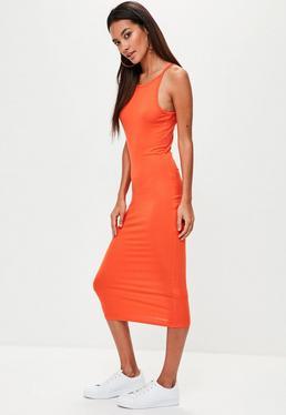 Orange Racer Neck Midi Dress