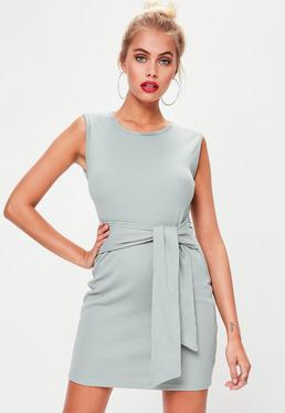 Green Ribbed Sleeveless Tie Waist Mini Dress