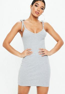 Grey Ribbed Bodycon Mini Dress