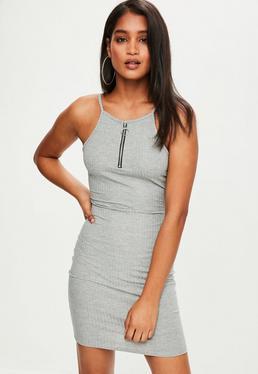 Grey Ribbed 90's Neck Ring Pull Mini Dress