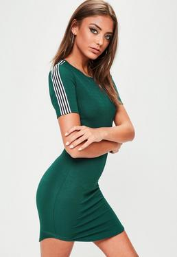 Green Curved Hem Striped Sleeve Mini Dress