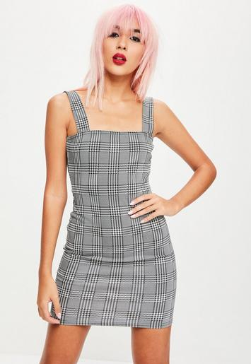 Black Plaid Bodycon Mini Dress Missguided