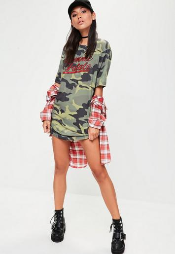 green camo femme fatale graphic t shirt dress missguided. Black Bedroom Furniture Sets. Home Design Ideas