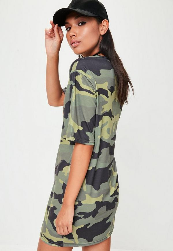 green camo femme fatale graphic t shirt dress missguided